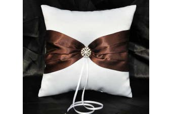 White Wedding Ring Bearer Pillow - Chocolate Brown Sach Ribbon Bow and Diamante Stud Design