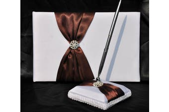 White Wedding Guest Book Silver Pen & Stand Set - Brown Bow + Diamante Stud