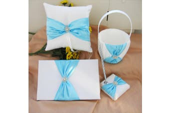 White Wedding Guest Book Ring Pillow Flower Basket Set - Cyan Turquoise Bow + Diamante Stud