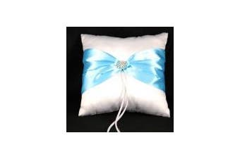 White Wedding Ring Bearer Pillow - Turquoise Cyan Blue Sach Bow and Diamante Stud Design