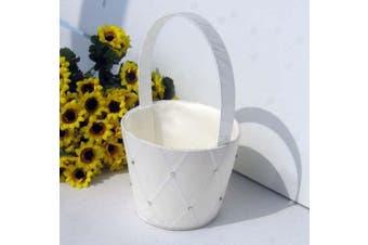 White Wedding Flower Girl Petal Basket - Diamond and Diamante Design