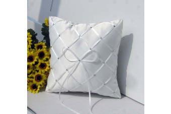 White Wedding Ring Bearer Pillow - Diamond Ribbon and Diamantes Design