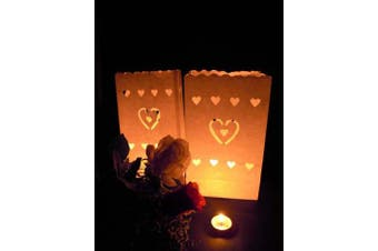 Heart in Heart White Tealight Candle Bag Lantern Luminary Wedding or Party - 10 Pack - Free Post