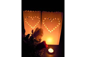 10 Pack - Large White Heart of Hearts Tealight Candle Bag Lantern Luminary Wedding or Party - Free Post