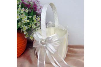 White Wedding Flower Girl Petal Basket - Ivory Ribbon Bows Design