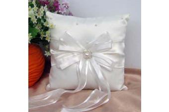 White Wedding Ring Bearer Pillow - Ivory Ribbon Bows Design