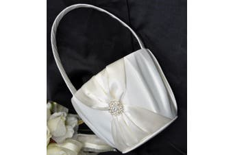 White Wedding Flower Girl Petal Basket - Ivory Sach and Diamante Stud Design