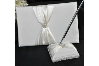 White Wedding Guest Book Silver Pen & Stand Set - Ivory Sach Ribbon