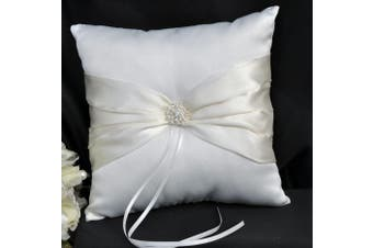 White Wedding Ring Bearer Pillow - Ivory Sach and Diamante Stud Design