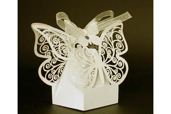 Ivory Cream Butterfly Wedding Bomboniere Favor Card Box - 10 Pack - free shipping