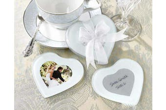 Love Heart Shaped Wedding Bomboniere Glass Coaster - Photo Frame - 2 per set
