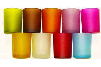 Mixed coloured glass tealight candle holders - 6cm high