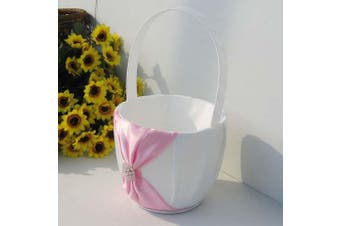 White Wedding Flower Girl Petal Basket - Pink Bow and Diamante Stud Design