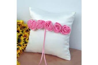 White Wedding Ring Bearer Pillow - Pink Rosettes Design