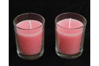 Pink Wax Table Candle in Glass Votive 6cm Holder - Girls Hens Christening Shower Party Decor