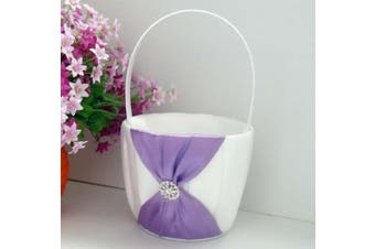 White Wedding Flower Girl Petal Basket - Purple Bow and Diamante Stud Design