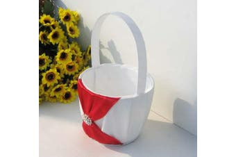 White Wedding Flower Girl Petal Basket - Red Bow and Diamante Stud Design