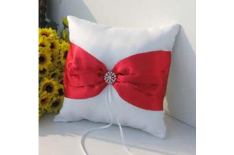 White Wedding Ring Bearer Pillow - Red Bow and Diamante Stud Design