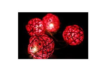 Red Cane Wicker 5cm Rattan Ball String LED fairy lights