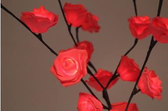Red Rose Bunch Stem - BATTERY fairy lights - 50cm high 20 bulbs/petals