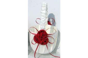 White Wedding Flower Girl Petal Basket - Red Ribbon Rosettes Design