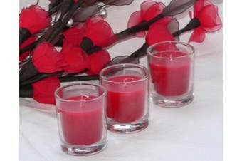 Ruby Red Wax Clear Glass Votive Table Candle