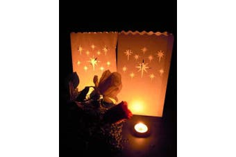 10 Pack - NIGHT STARS candle bag Lantern Luminary Wedding or Party - FREE SHIPPING