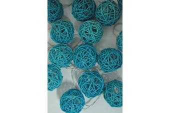 Turquoise Blue Cane Ball LED Fairy Lights - battery power - party table Decoration