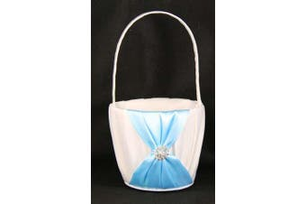 White Wedding Flower Girl Petal Basket - Turquoise Cyan Blue Sach Bow and Diamante Stud Design