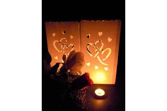 10 Pack - Twin Locking Hearts White Tealight Candle Bag Lantern Luminary Wedding or Party - Free Shipping