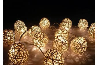 White Rattan Ball Fairy Lights on a battery pack - wedding runner Decoration