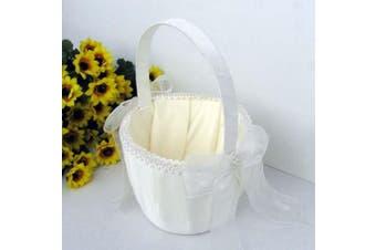 White Wedding Flower Girl Petal Basket - White Bow Pearl Stud Design