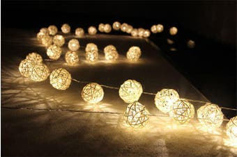 White Rattan Cane Ball LED Fairy Lights - battery power - party table Decoration