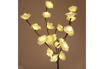 White Rose Bunch Stem - BATTERY fairy lights - 50cm high 20 bulbs/petals