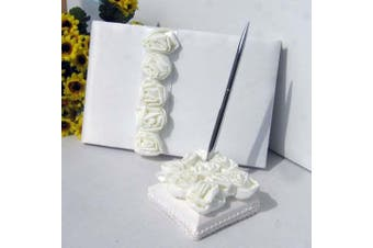 White Wedding Guest Book Silver Pen & Stand Set - White Roses