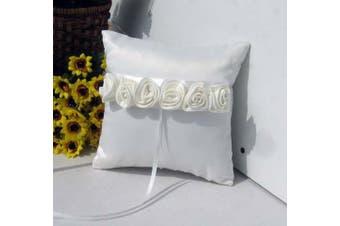 White Wedding Ring Bearer Pillow - White Rosettes Design