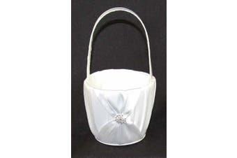 White Sach Wedding Flower Girl Petal Basket - Diamante ring stud