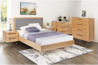 QUEEN ANGULAR BED FRAME WITH FABRIC UPHOLSTERED HEADBOARD  4 PIECE (TALLBOY) BEDROOM SUITE - RUSTIC OAK