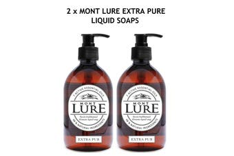 2 x Mont Lure Authentic Liquid Soap - Original Extra Pure with Essential Oils - Naturally Anti-Bacterial - Hands, Body & Face - 98% natural - Made in France - 500ml each
