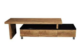 Charlene Extendable Entertainment TV Unit - High Gloss Black Body - Antique Oak Top and Drawers