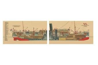 1926 Mailboat Indrapoera 2 Piece Printed Canvas Wall Art Set