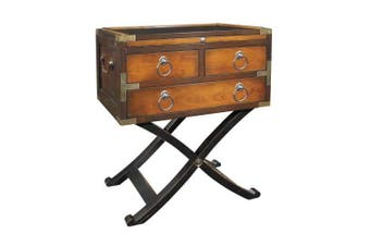 Bombay Box 2 Tone Honey End Table Campaign Furniture