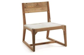 Trent Occasional Accent Chair - Teak Wood - White Rattan