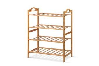 Bamboo Shoe Rack Organiser Wooden Stand Shelf 4 Tiers Shelves
