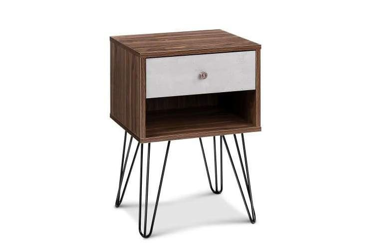 Bedside Table with Drawer - White & Walnut
