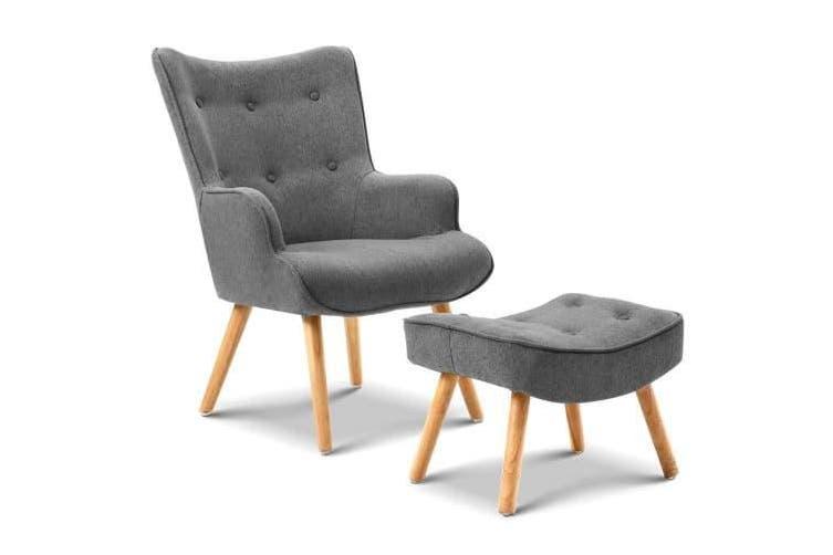 Armchair and Ottoman - Grey