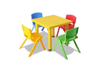 Set of 5 - Kids Table and Chairs Playset - Yellow