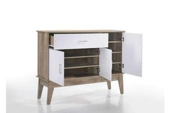 Nobu Large Shoe Cabinet - Natural / White