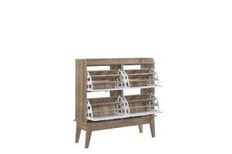 Nobu 4-Drawers 12-Tiers Large Shoe Rack - Natural / White