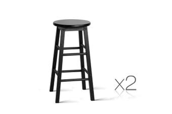 Set of 2 - Wooden Bar Stool Black